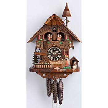 Cuckoo Clock 黒 forest house, turning mill-wheel