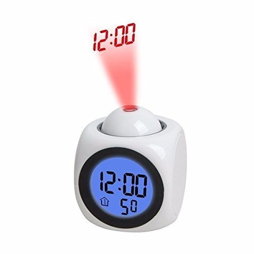 Aojingtai Projection Alarm Clock with Soft LED nightlight,Snooze, Batt