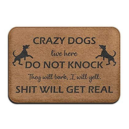 Crazy Dogs Do Not Knock Super Absorbent Anti-Slip Mat Indoor/Outdoor D