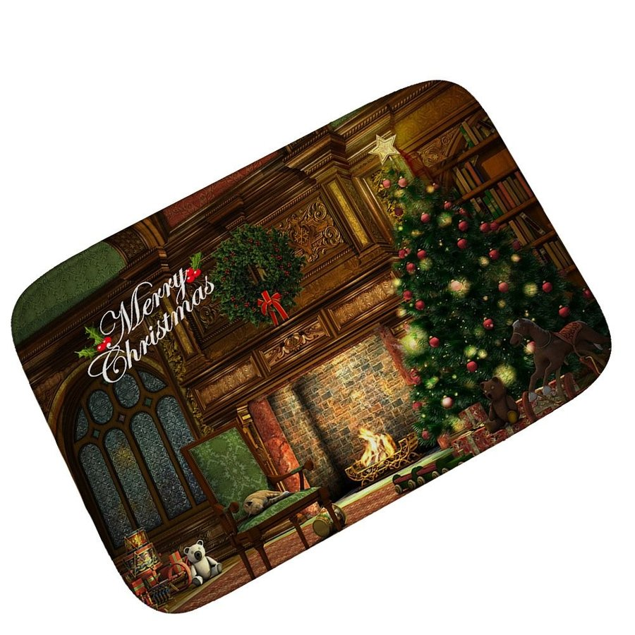 青Space Christmas Mats 3D Printing Doormat Outdoor Indoor Front Door
