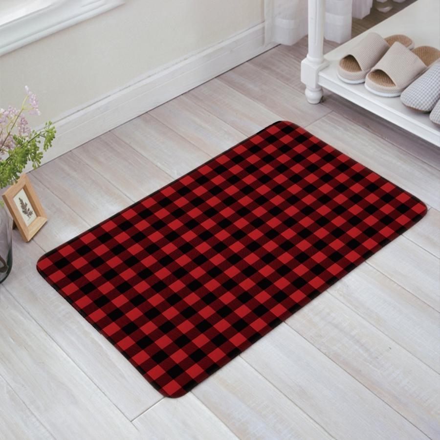 Z&L Home 赤 黒 Buffalo Check Plaid Pattern Doormat Home Bathroom B