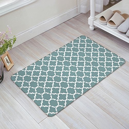 Indoor Doormat Stylish Welcome Mat Medium Turquoise Quatrefoil Geometr