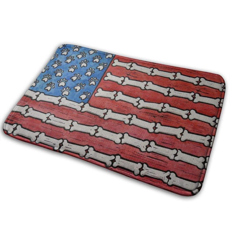 Indoor/Outdoor Mats Dog Paws And Bones American Flag Rubber Door Mat B