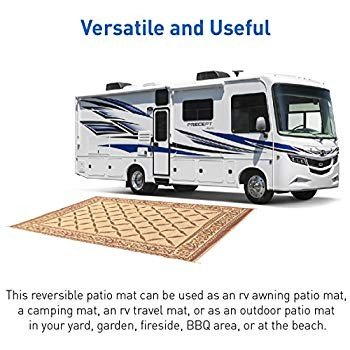 EasyGO Products Rv Camping Mats - 9'X 18' Large Outdoor Patio Mat - Re