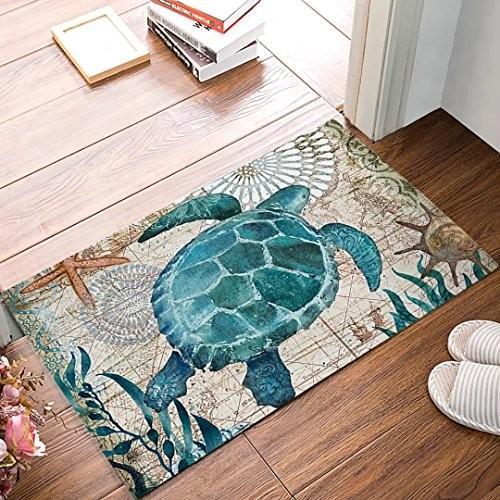 Watercolor Sea Turtles Door Mat Indoor Outdoor Non-slip Rubber Entranc