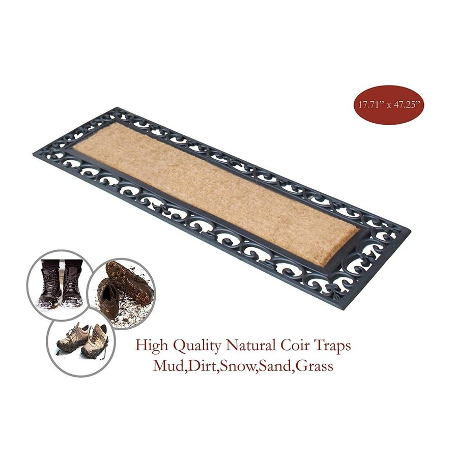 A1 Home Collections RC2004 Myla Rubber and Coir Molded Double Doormat,