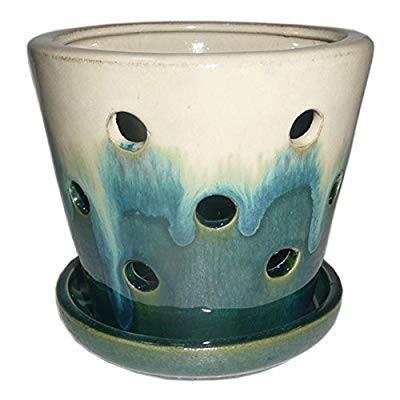 Garden Treasures 4.72-in x 5.28-in Teal cream Ceramic Planter