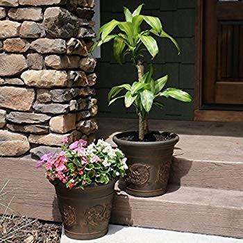 Sunnydaze Arabella Flower Pot Planter, Outdoor/Indoor Extra-Durable Do