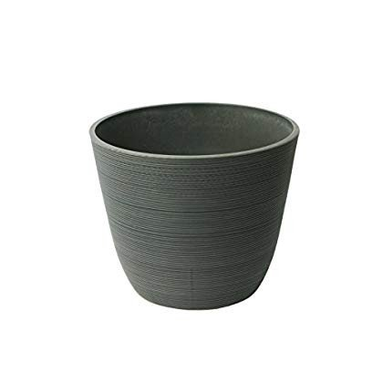 Al緑 23235 Round Curve Ribbed Planter, Charcoal