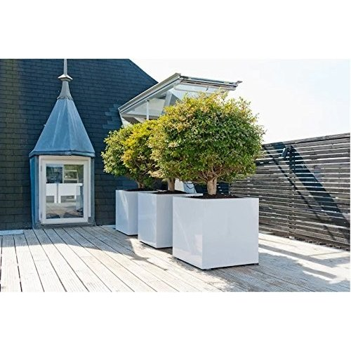Planter Box Modern Cube Shiny 白い Block Elegant Flower Pot - Size: 1