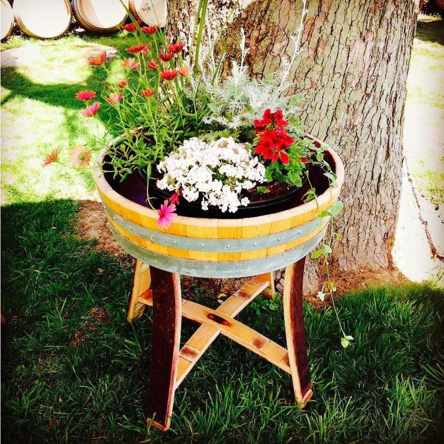 MGP Genuine Oak Wood Shallow Wine Barrel Planter 25