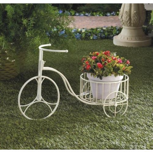 Garden Planters 白い Tricycle Plant Holder Metal Indoor & Outdoor Hom