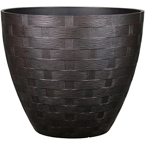 allen + roth 15.28-in W x 13.66-in H Rust Resin Planter