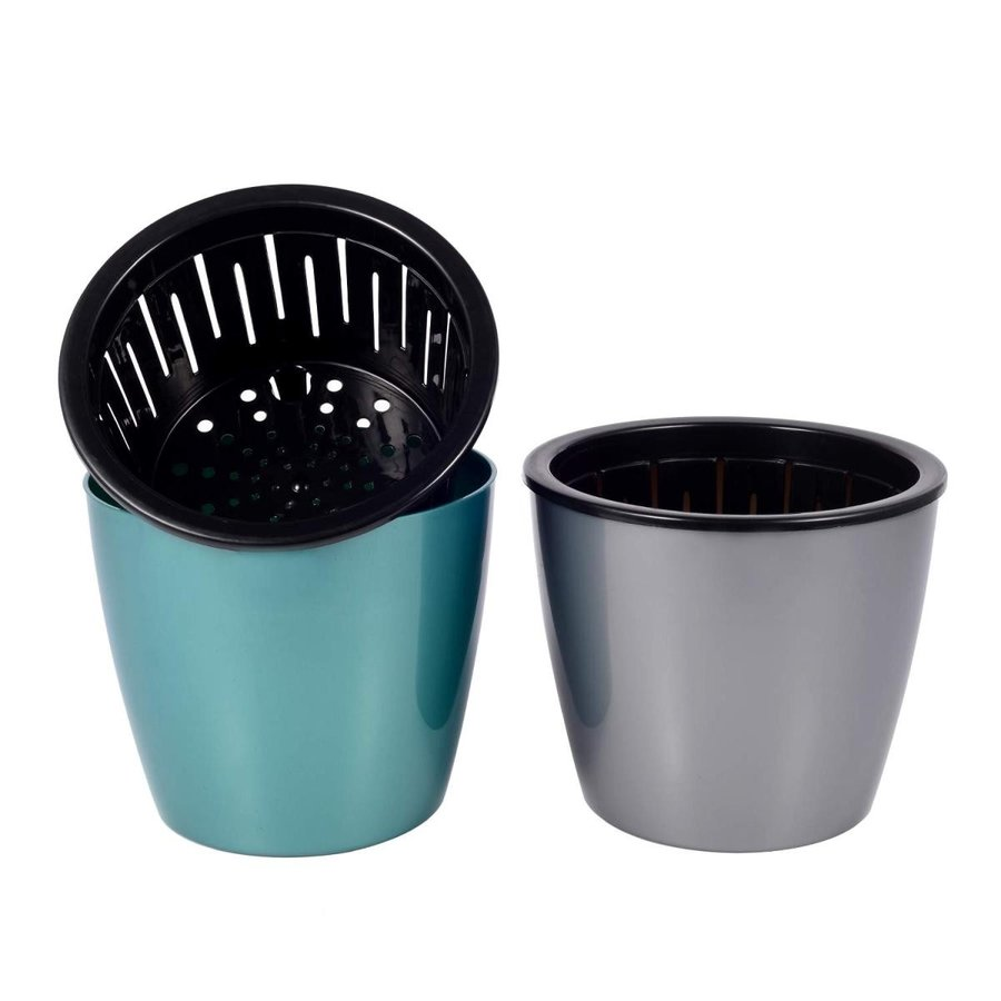 Kichwit 2 Pack Self Watering Planter Flower Pot, 青 & グレー