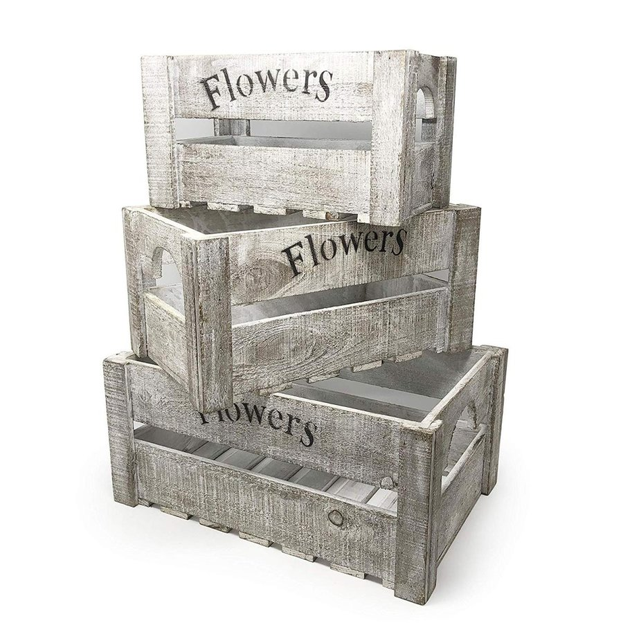 Allgala 3-PC Set Wooden Wooden Wooden Boxes Planter Trough for Flower pots - Indoor 8e3
