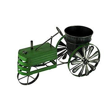 Weathe赤 緑 Finish Metal Farm Tractor Planter Pot