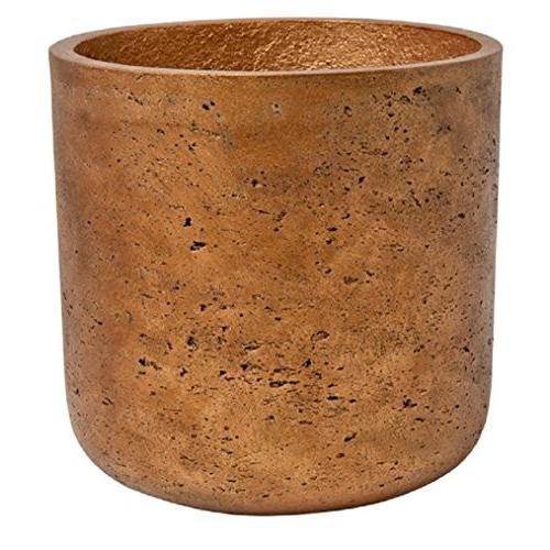 Metallic Copper Planter Round Fiberstone indoor and outdoor Flower Pot