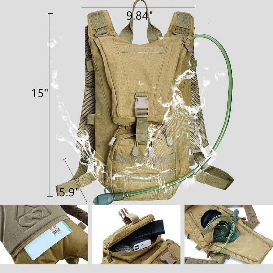 WintMing Tactical Backpack with 2.5L Water Bladder Hydration Military