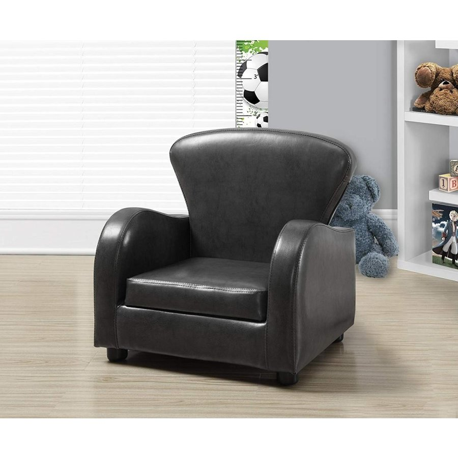 Monarch Specialties Charcoal Grey Leather-Look Juvenile Club Chair, 20