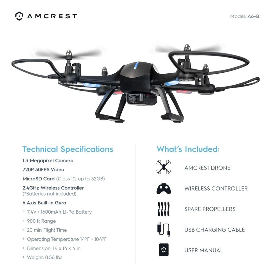Amcrest A6-B Skyview Pro WiFi Drone with Camera HD 1.3MP FPV Quadcopte