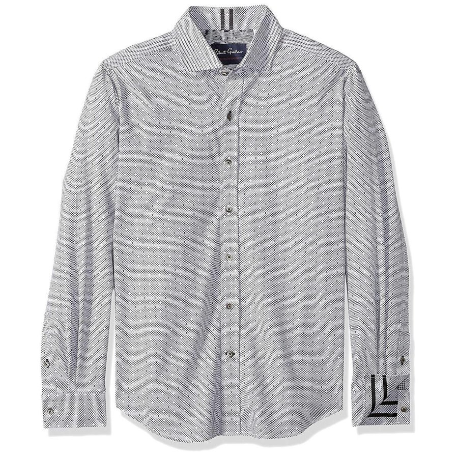 YUNY Mens Long Sleeve Button Down Slim Fitted Premium Shirt Tops White XS