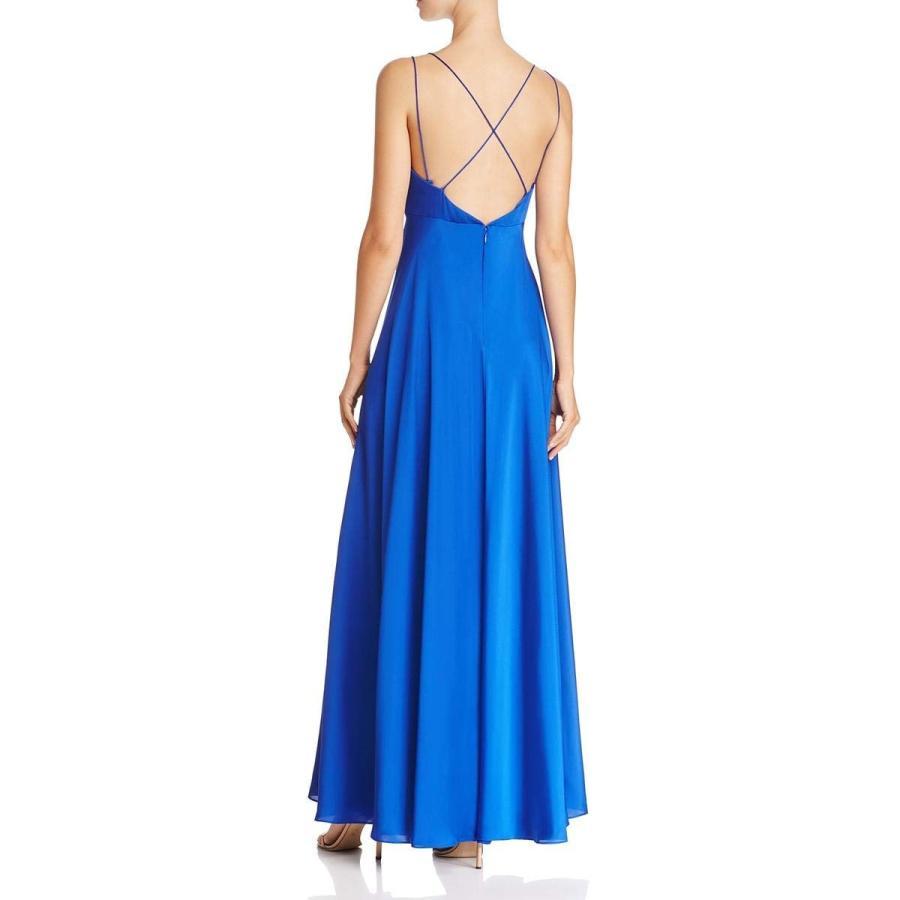 Aidan Mattox Womens Satin V-Neck Evening Dress 青 4