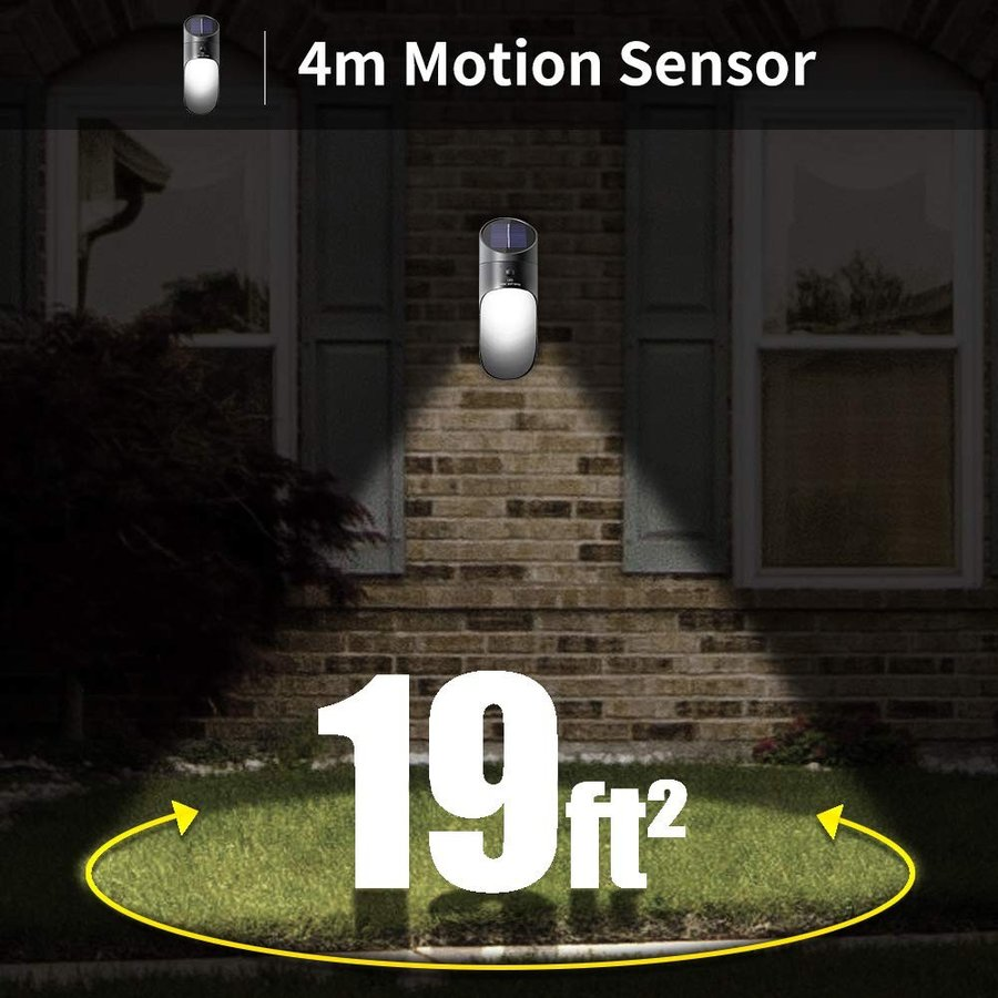Neporal Solar Lights Outdoor LED LED 2 Brightness Wall Mounted Motion Sens