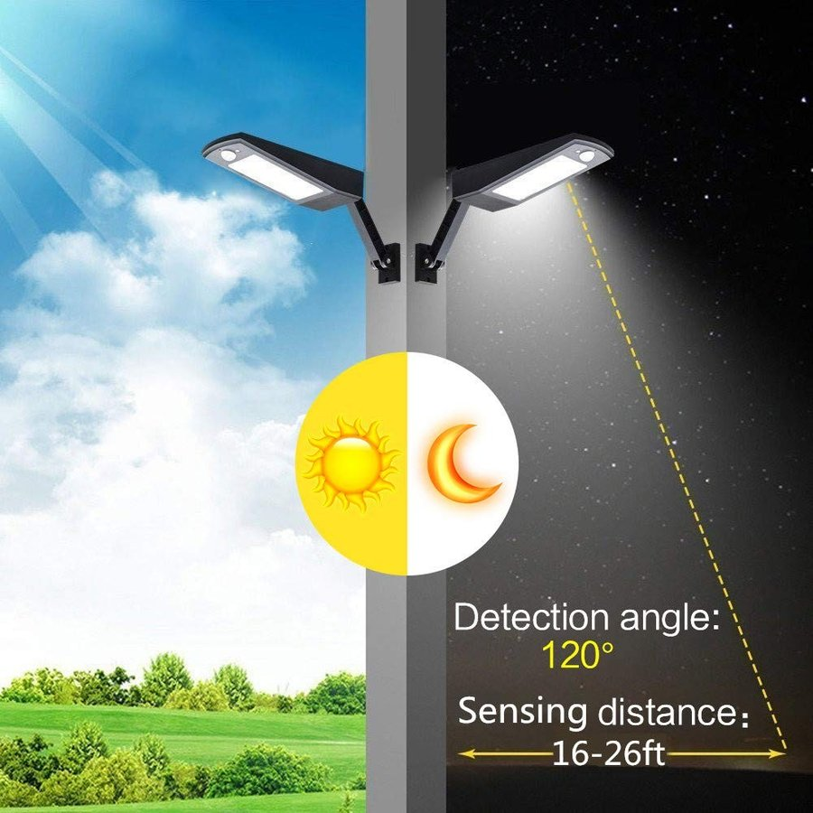 Solar Motion Sensor Light Outdoor with Remote Control 48LED Bulb 900LM