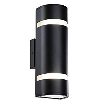 Outdoor Wall Light in D Shape with Aluminum Modern Wall Sconce 黒 W