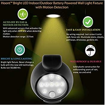 Hoont Bright LED Indoor/Outdoor Battery Powe赤 Wall Wall Light Fixture wit