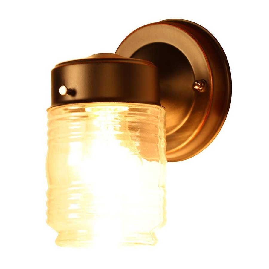 Design House 587311 Jelly Jar 1-Light Outdoor Wall Light, 2-Pack, Clea