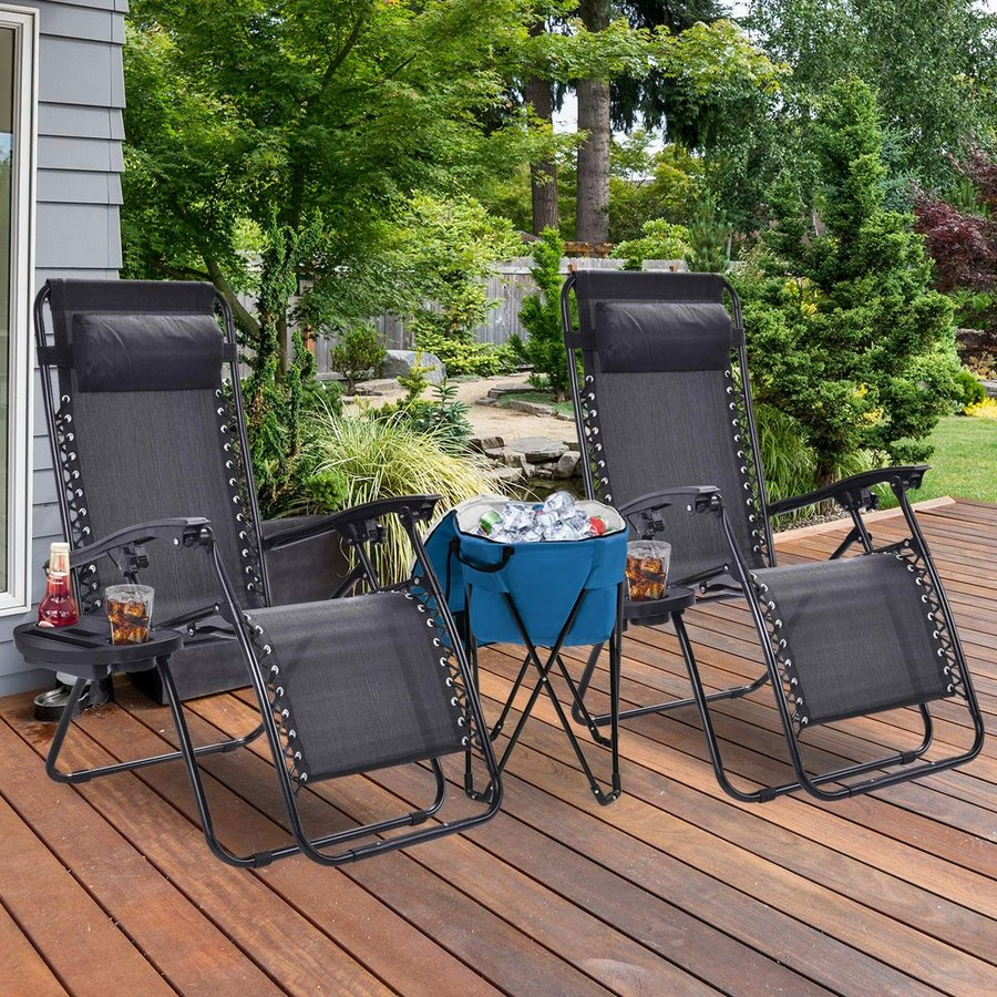 Goplus 2PC Zero Gravity Chairs Chairs w/Ice Cooler Bag for Outdoor Patio Yard