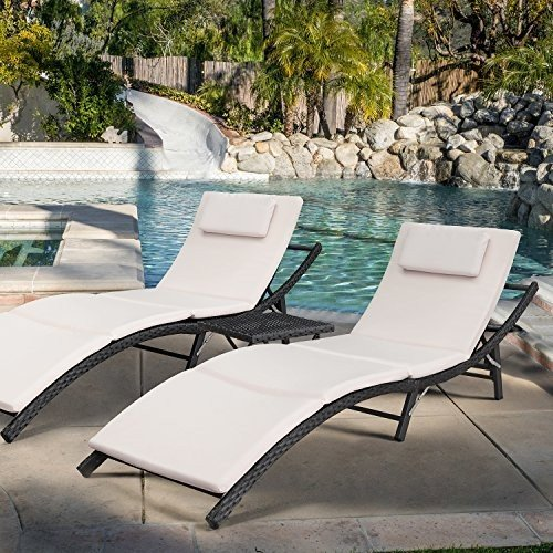 Devoko Patio Chaise Lounge Sets Outdoor Rattan Adjustable Back 3 Piece