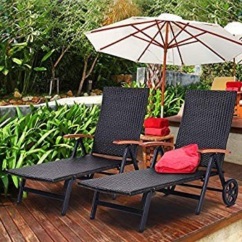 TANGKULA Wicker Chaise Folding Back Adjustable Aluminum Rattan Lounger