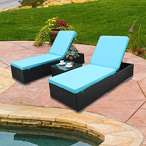 Do4U 3 Pcs Outdoor Patio Synthetic Adjustable Rattan Wicker Furniture