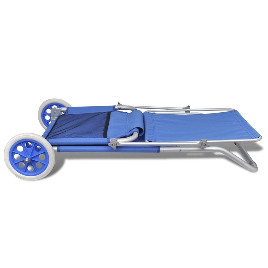 Daonanba Foldable Sunbed Sun Lounger with Canopy and Wheels Outdoor Ch