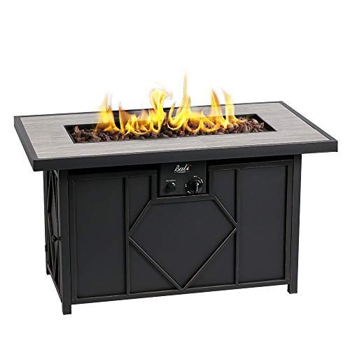 BALI OUTDOORS Fire Pit Propane Gas FirePit Table Rectangular Tabletop