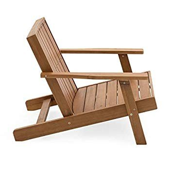 Modern Flat Back Brown Finish Wood Adirondack Chair Outdoor Lawn Garde