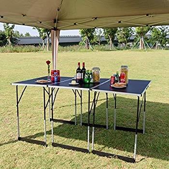Giantex Camping Folding Picnic Table Aluminum Set, Height Adjustable P