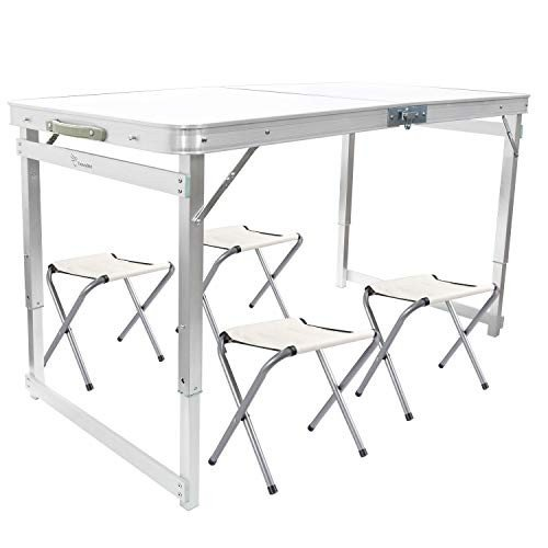 FrenzyBird 4-Person Folding Picnic Table with 4 Chairs, Height Adjusta