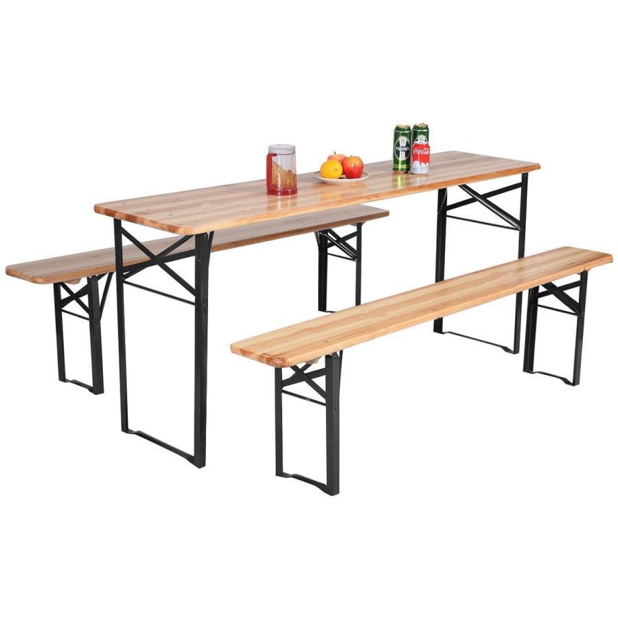 UBRTools DEALS 3 PCS Beer Table Bench Set Folding Wooden Top Picnic Ta