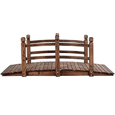 5' Wooden Bridge Solid Fir with Stained Finish Wood Garden Pond Arch O