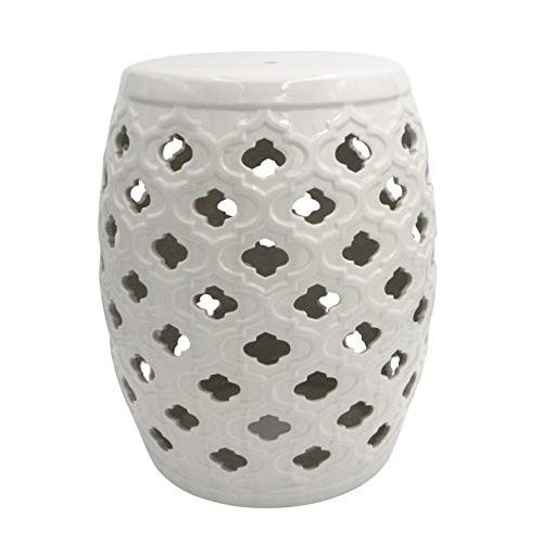 Ravenna Home Moroccan Moroccan Pattern Ceramic Garden Stool or Side Table, - 16