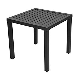 EMERIT Outdoor Metal Square Patio Bistro Side End Table,黒