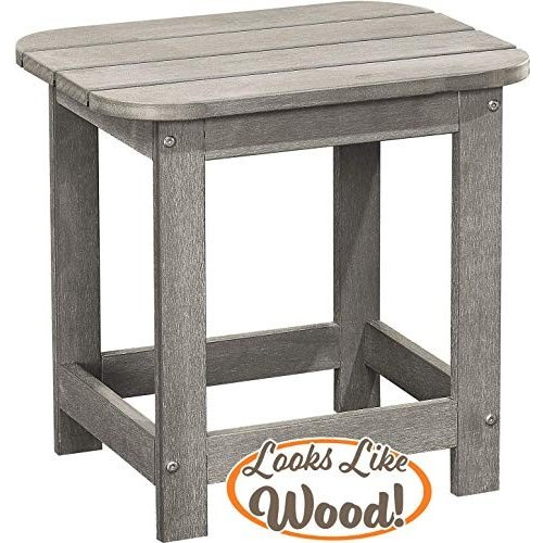 PolyTEAK Compact Outdoor Side Table, Stone Gray | Weather Resistant, P