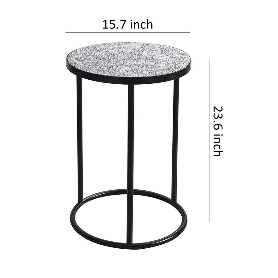 Whole Housewares Mosaic 黒 Metal Round Side Table - Plant Stand - G