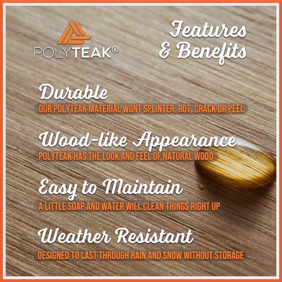 PolyTEAK PolyTEAK Folding Outdoor Side Table, Walnut 褐色 | Weather Resistant,