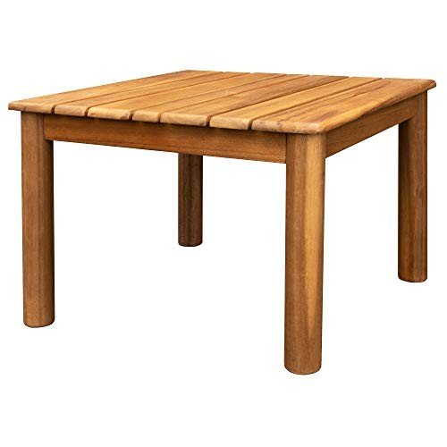 Villa Acacia Wooden Outdoor Side Table, 20 Inch Square, Weather Resist