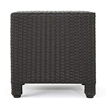 Pueblo Outdoor Dark 褐色 Wicker Side Table