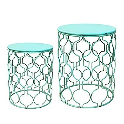 Set of 2 Round Metal Side Table - 緑